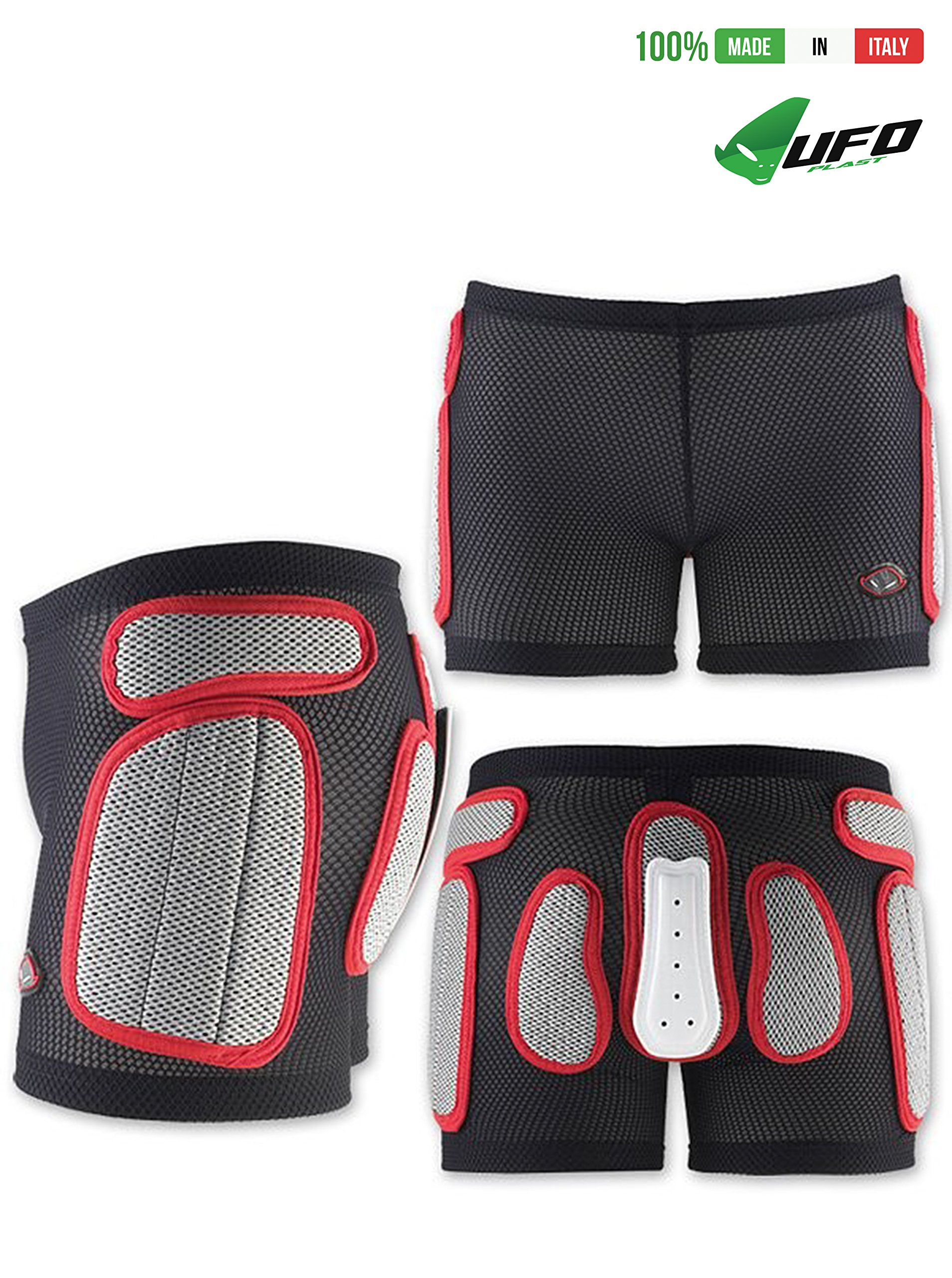 UFO PLAST Made in Italy SK09125 Soft Padded Shorts for Kids / Removable Back Protection / Airnet Material / For: Snowboard, Skateboard, Ski, Skating / Size: M / Color: White with Red