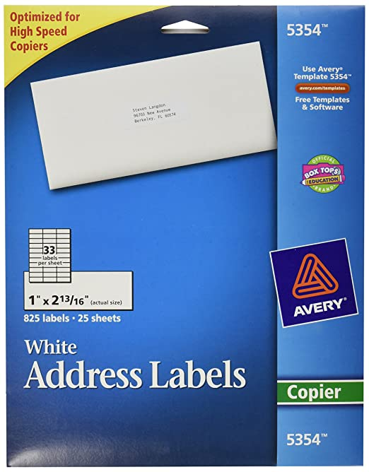 amazon com avery white mailing labels for copiers 1 x 2 81 inch
