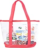 Bags for Less Large Clear Vinyl Tote Bags Shoulder Handbag (Red)
