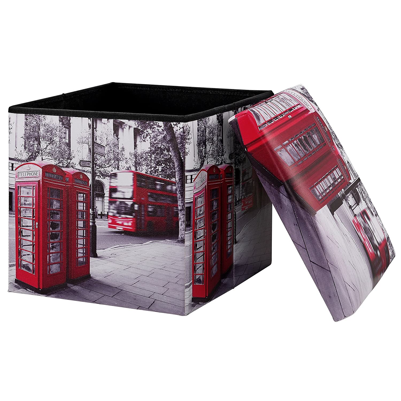 [en.casa] Pouf pieghevole (38 x 38 x 38 cm) salva spazio - panchina - motivo 'Londra' [en.casa]®
