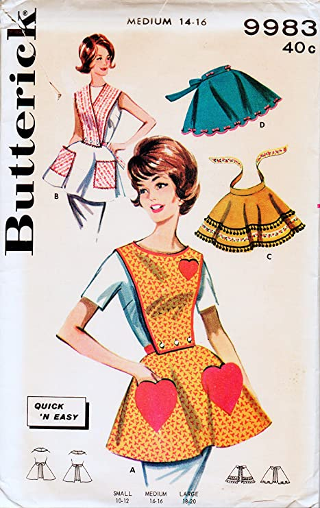 Amazon Butterick 9983 Vintage Quick And Easy Apron Sewing