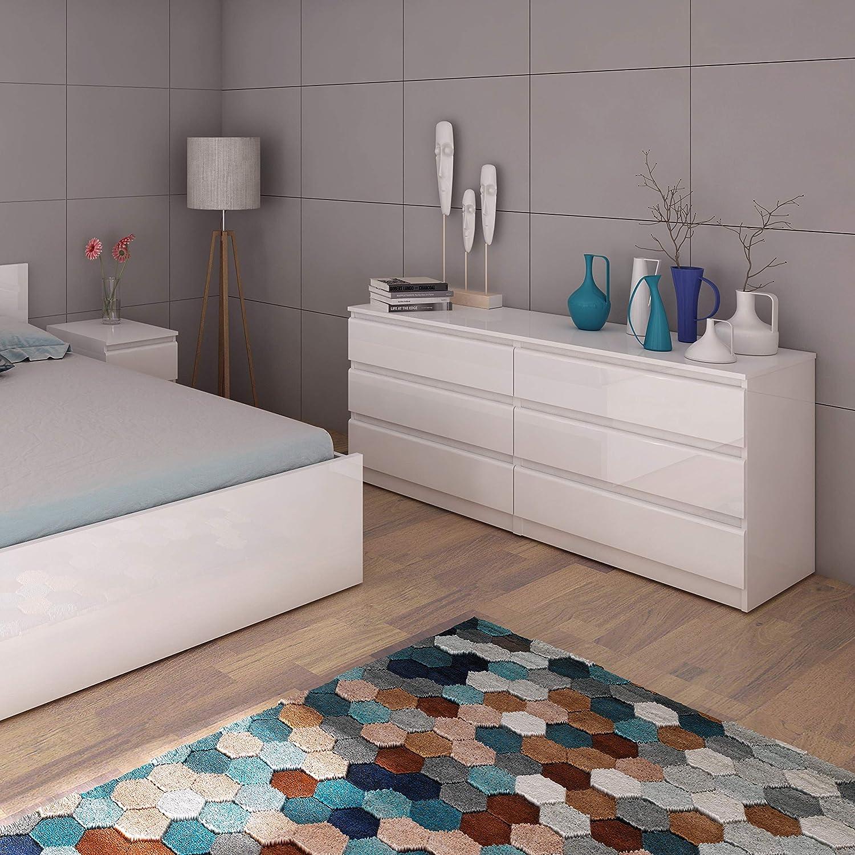 3+3 Bedroom Naia Classic Simple Stylish 6 Drawer Wide Chest-Black Matt