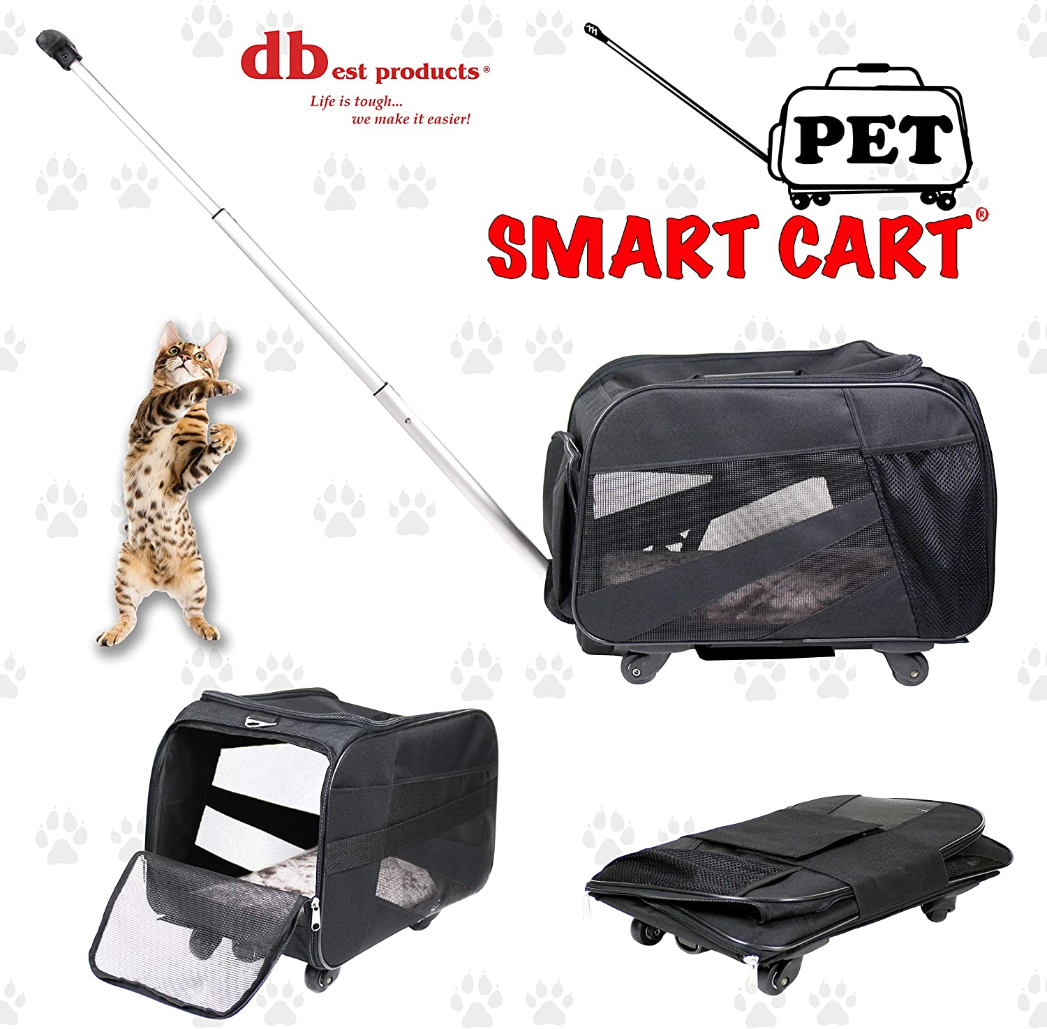 Pet Smart Cart, Large, Black, Rolling Carrier with wheels soft sided collapsible Folding Travel Bag, Dog Cat Airline Approved Tote Luggage backpack