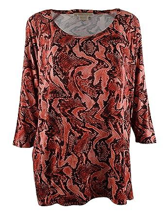 52536af817bb Michael Kors Women s Plus 3 4 Raglan Sleeve Python print Top Shirt at  Amazon Women s Clothing store