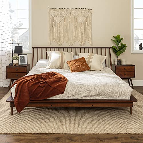 Walker Edison Mid Century Modern Solid Wood Spindle Headboard Footboard Platform Bed Frame Bedroom