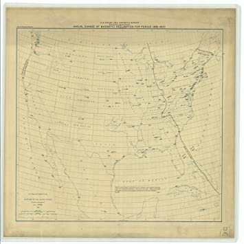18 x 24 canvas 1896 us old nautical map drawing chart of annual change of magnetic
