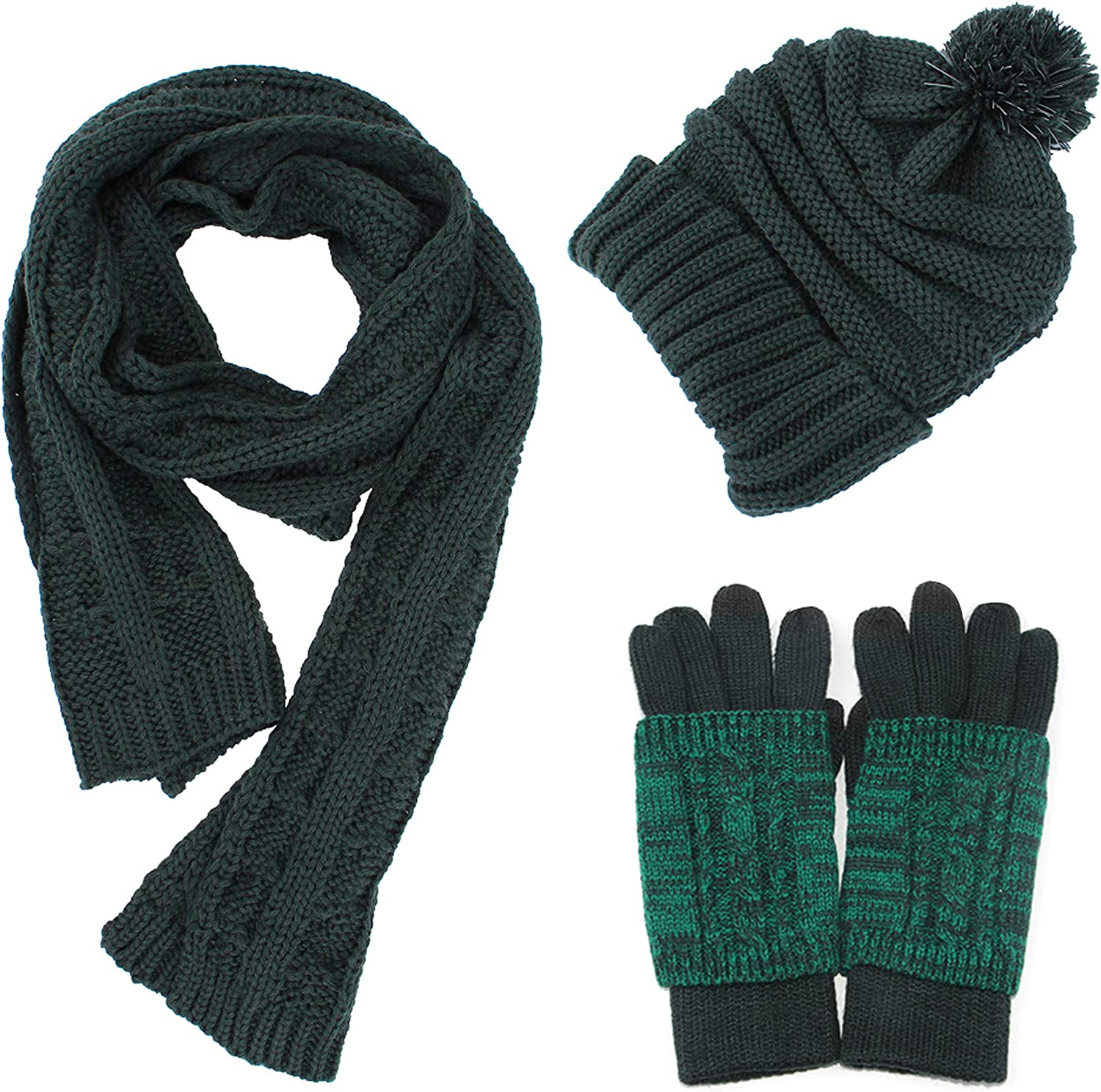 Scarf Hat Gloves Set Warm...