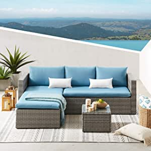 Volans 3 Pieces Patio Furniture Set, All Weather Outdoor Sectional Sofa Set PE Rattan Manual Weaving Wicker Patio Conversation Set with Glass Table and White Pillows, Blue