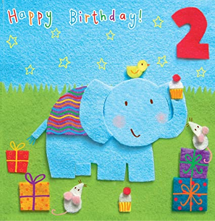 Twizler Tarjeta de 2º cumpleaños para niño con elefante y ...