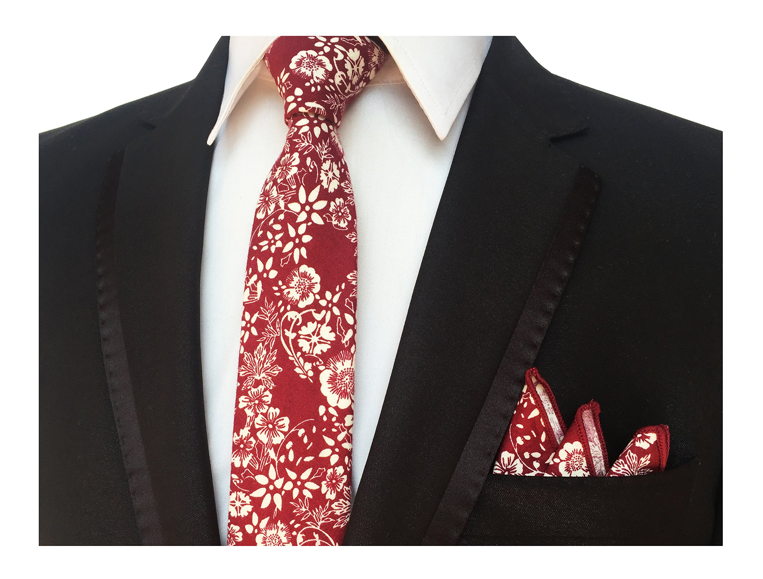 Men's Red White Ties Cotton Flowers Printed Neckties Great for Weddings Gifts by Elfeves (Image #1)