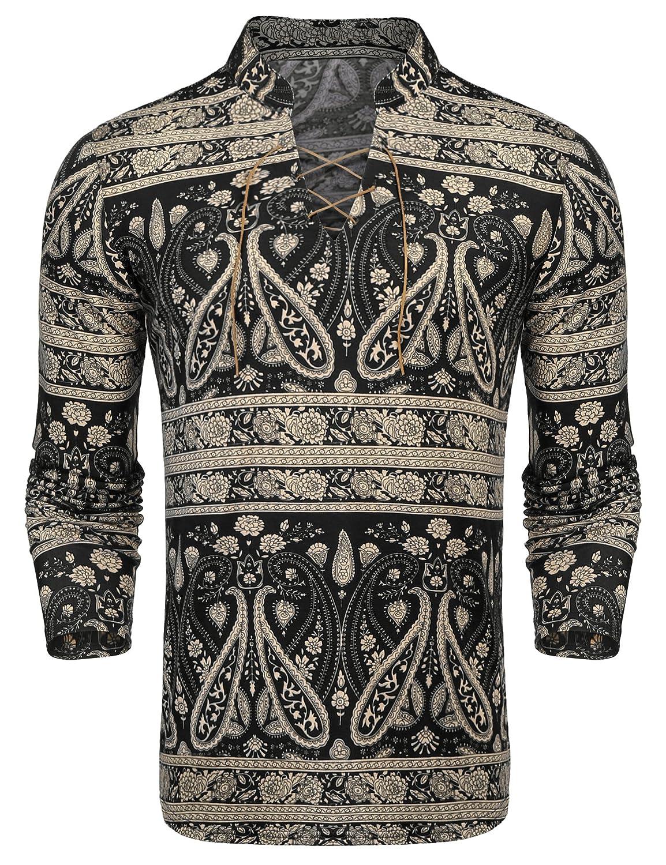 9e7129aaf Stylish long sleeve slim fit shirt designed in paisley pattern,long  sleeve,lace up,henley neck.