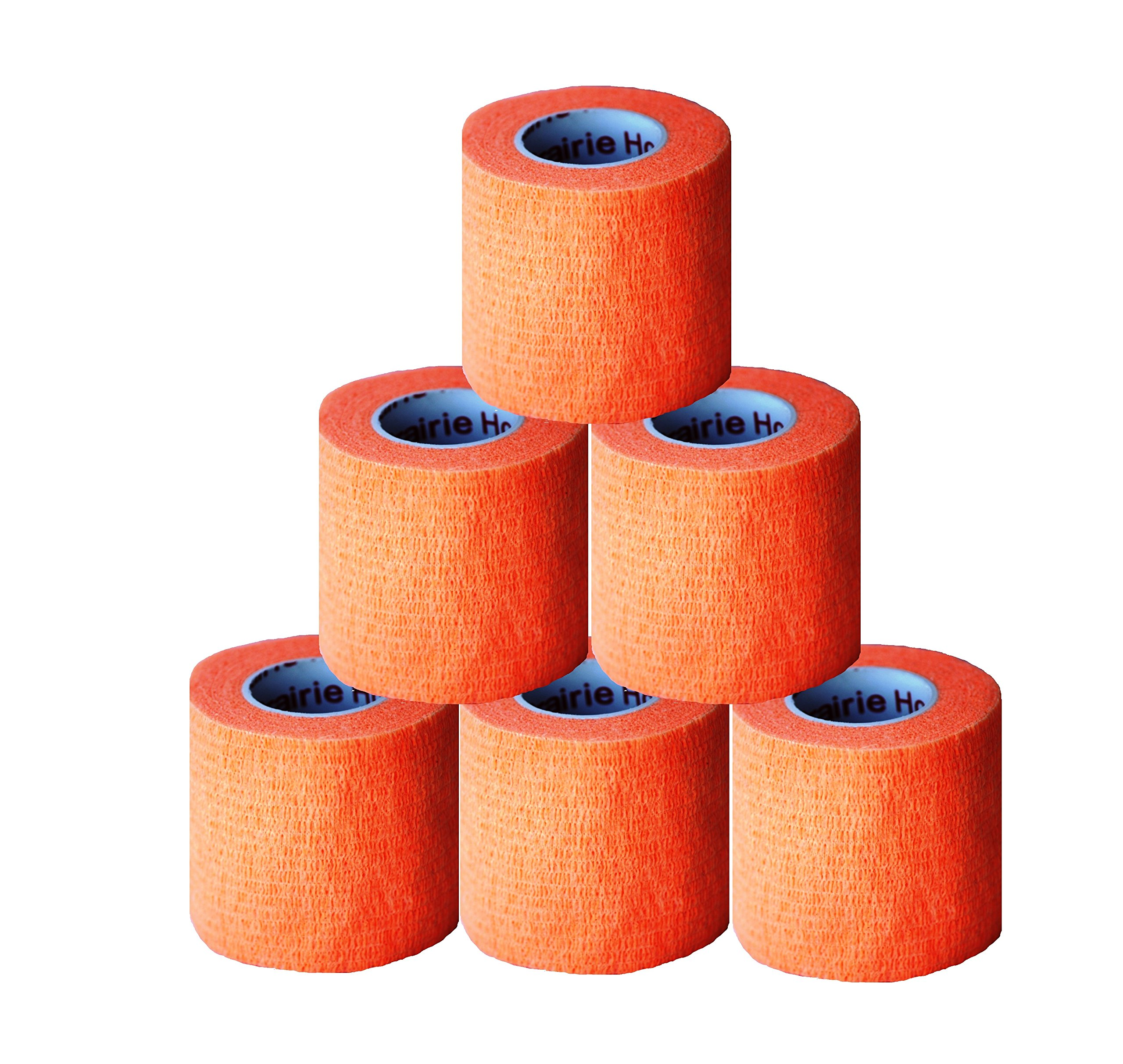 "2"" Medical Wrap Tape Bulk, Self Adherent Rap Tape, Self Adhering Stick Bandage, Self Grip Roll, Power Flex Wrap – 2"" x 15' Feet 6 Rolls Orange by Prairie Horse Supply"