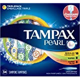 Tampax Pearl Plastic Tampons, Multipack, Regular/Super/Super Plus Absorbency, Unscented, 34 Count - Pack of 6 (204 Total Count)