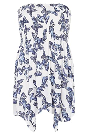 8cc55903d0f Yours Clothing Women s Plus Size Butterfly Print Bandeau Top with Hanky Hem  Size 16 White