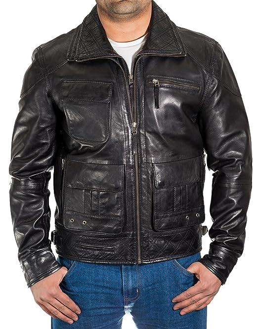 Negro Hombre del italiana de cuero encerado Safari Hunter larga chaqueta. Collar doble. Elegante y masculino.: Amazon.es: Ropa y accesorios