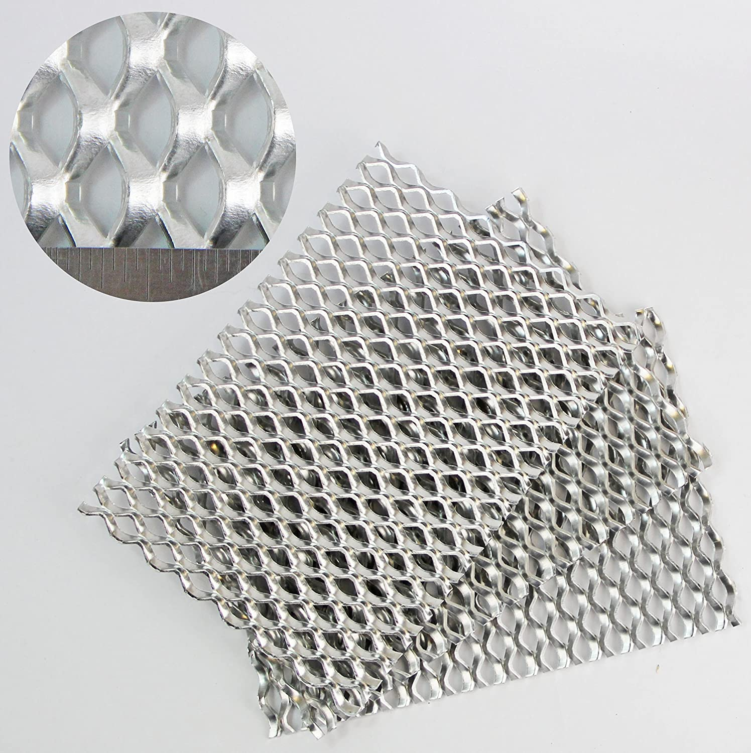 20mm x 14mm Expanded Metal - Aluminium - 3 PACK = A5 (150 x 210mm) x 3 The Mesh Company