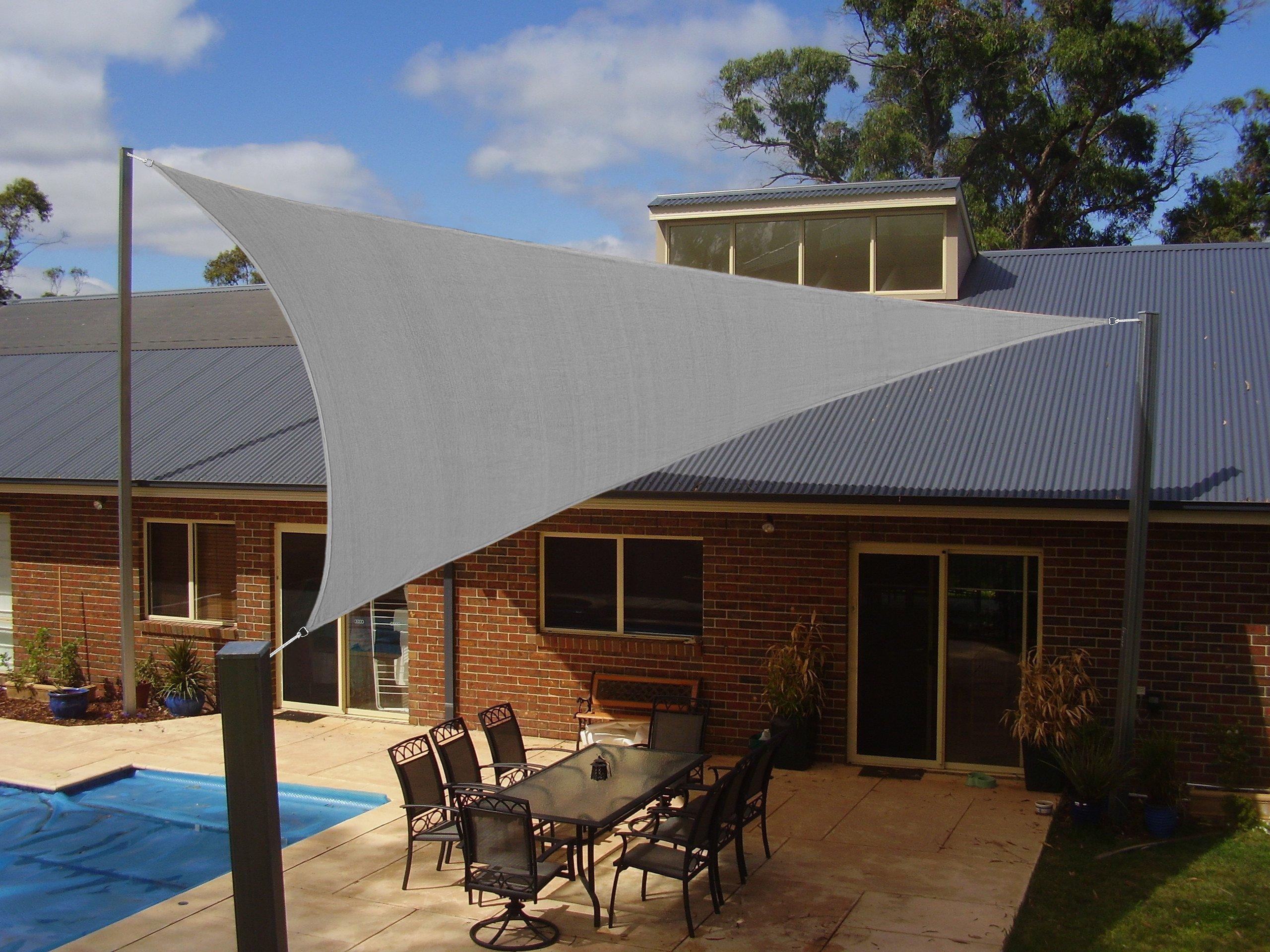 Coconut Heavy Duty Triangle Sun Shade Sail, UV Block Canopy Shelter for Outdoor Patio Garden Deck Backyard 12' x 12'x 12' Light Grey 5 Years Warranty