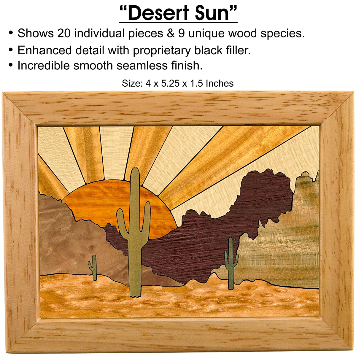 Desert Sunset Wood Art Jewelry Box & Gift - Handmade USA - Unmatched Quality - Unique, No Two are the Same - Original Work of Wood Art (#4118 Desert Sunset 4x5x1.5)