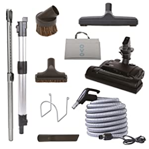 Nadair Central Vacuum Carpet Attachment Kit With Adjustable Height Electric Carpet Head - Brush Set Including 35ft Central Vac Dual Votage Switch Control Hose - KIT-HV35CD-OVO