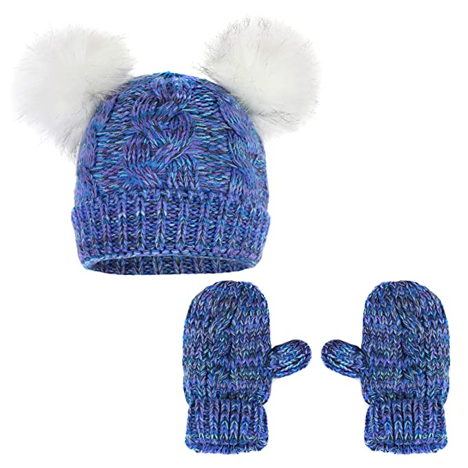 d8f3ee54b Girls Chunky Knit Marled Fleece Lined Double Fur Pom Cat Ear Stretch Cuff  Beanie- Bear Winter Hat and Mitten Gloves Gift Set