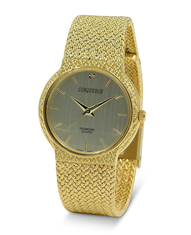 Conqueror goldfarbene Armbanduhr mit Mesh Armband und Diamant Unisex Quarz Kleid...