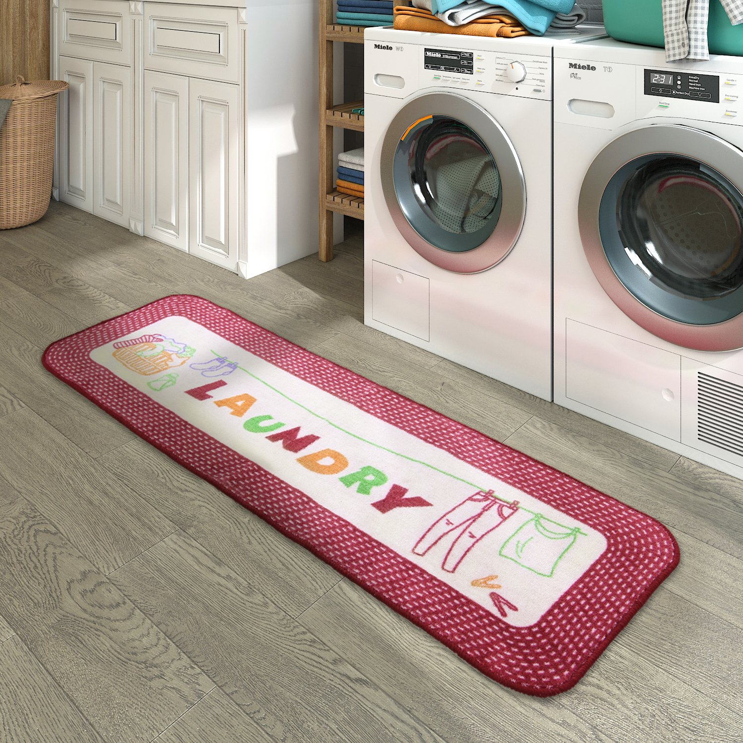 Lifewit Laundry Rug Runner in Vintage Style, Kitchen Rug Stain Resistant, 59 x 19.7 x 0.24 inch
