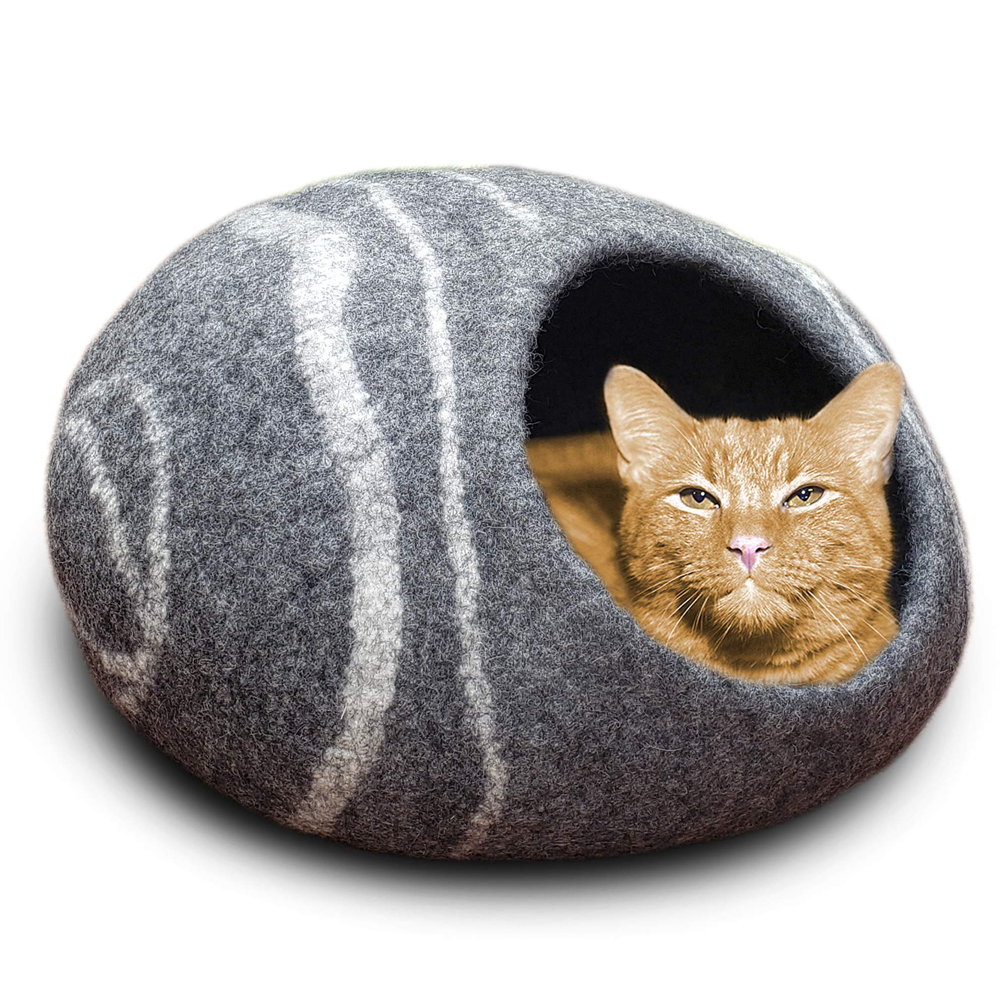MEOWFIA Premium Felt Cat Bed Cave (Large) - Eco Friendly 100% Merino Wool Bed for Cats and Kittens (Large, Charcoal Stone) by MEOWFIA