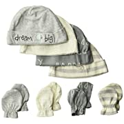Gerber Baby 8-Piece Organic Cap and Mitten Set, Happy Elephant, Newborn