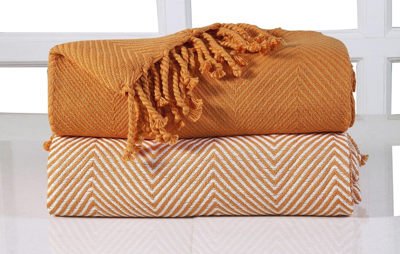 Naranja 125/x 150/cm EHC 2 Mantas de Lujo de chevr/ón para sof/á