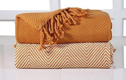 EHC 2 Mantas chevrón para sofá, Naranja, 125 x 150 cm