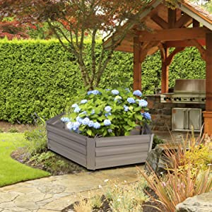 Metal Raised Garden Bed Planter Box Kits for Vegetables Outdoor, Gray, Steel, 3.2' Hexagon