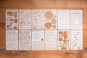 BULLETstencils Starter Set - Featuring 12 Journal Stencils: Includes Word Stencils, Circle Stencils, Drawing Stencils, Icons, Charts, Shapes, Much More!