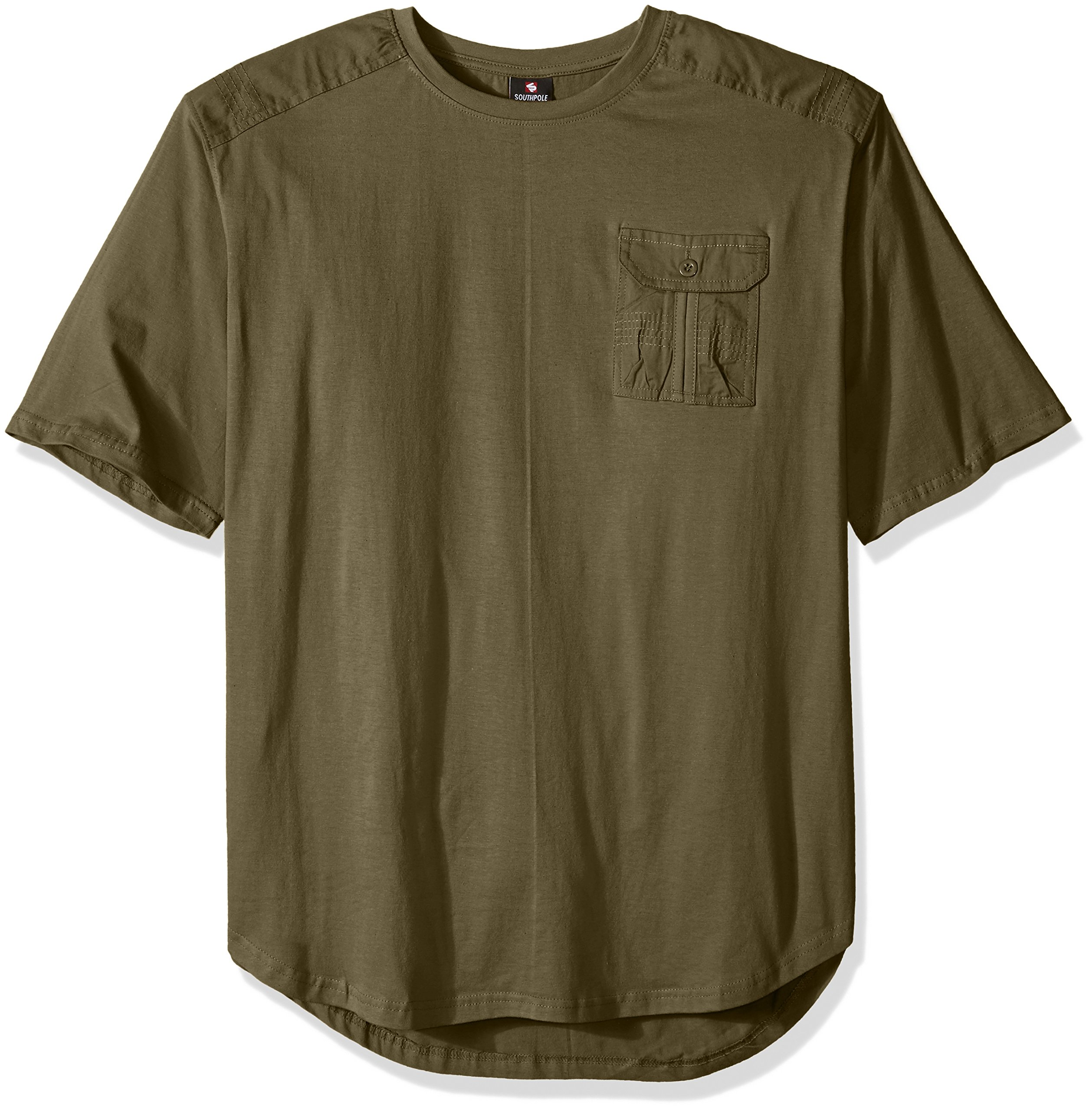 Southpole Men's Big and Tall Short Sleeve Scallop Tee with Fine Twill Detail, Olive, 5XB