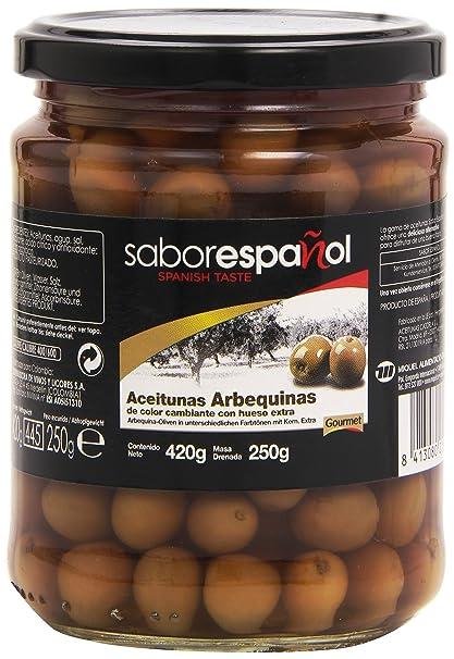 Gourmet SaborEspañol Aceitunas Arbequinas de Color Cambiante con Hueso Extra - 250 g