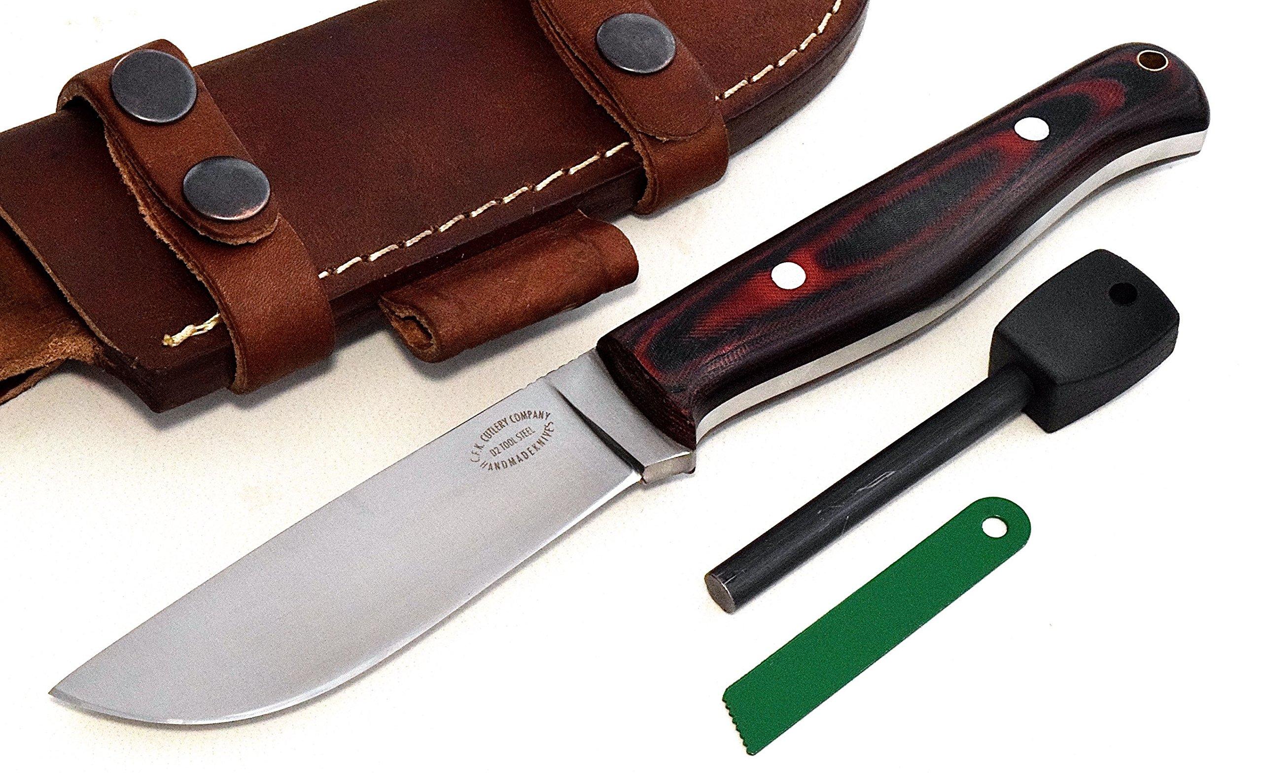 CFK Cutlery Company USA Custom Handmade D2 Tool Steel Micarta BIG PAW Skinning Hunting Fishing Knife & Horizontal Leather Sheath & Fire Starter Set CFK130