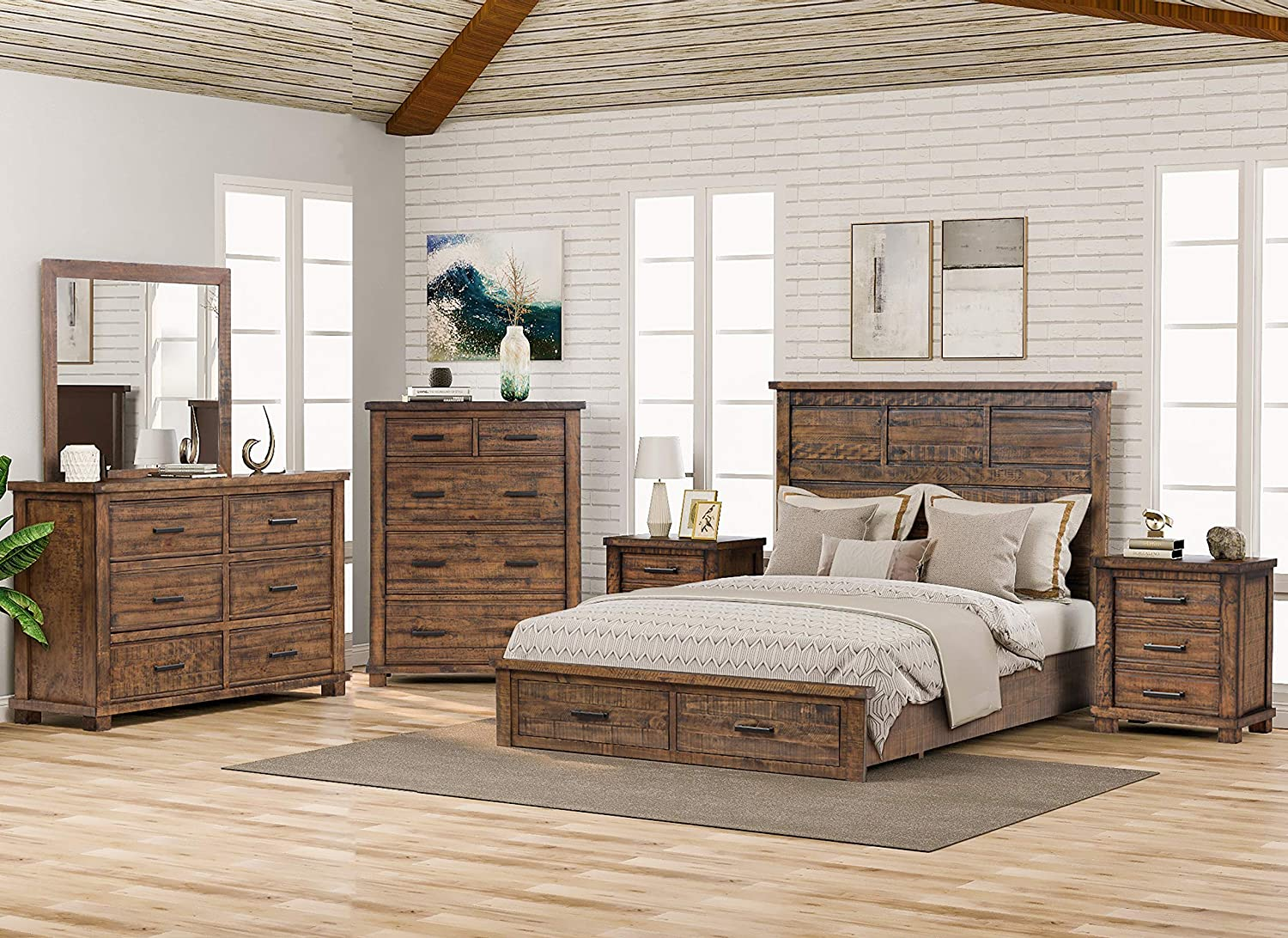 SOFTSEA 6 Piece Reclaimed Wood Queen Bedroom Furniture Set, Include Solid Pine Wood Storage Bed, 2 3-Drawers Nightstands, 6-Drawer Dresser and 5-Drawer Chest and Mirror, Rustic Style
