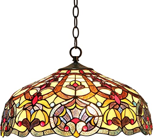 Chloe CH33473IV18-DH2 18 Shade Sadie, Tiffany-Style Victorian 2 Light Ceiling Pendant Fixture