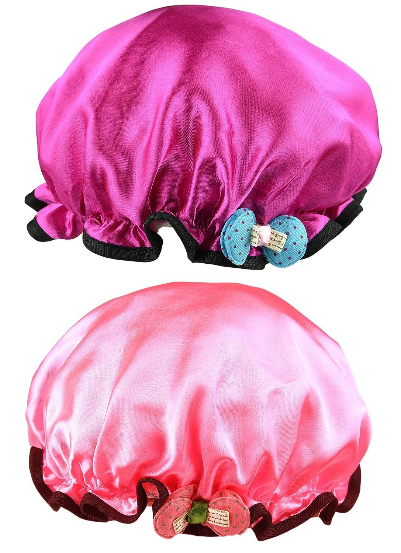 NKTM Children Shower Cap Kids Cartoon Shower Hat Cute Waterproof Double Layer 2 Pack