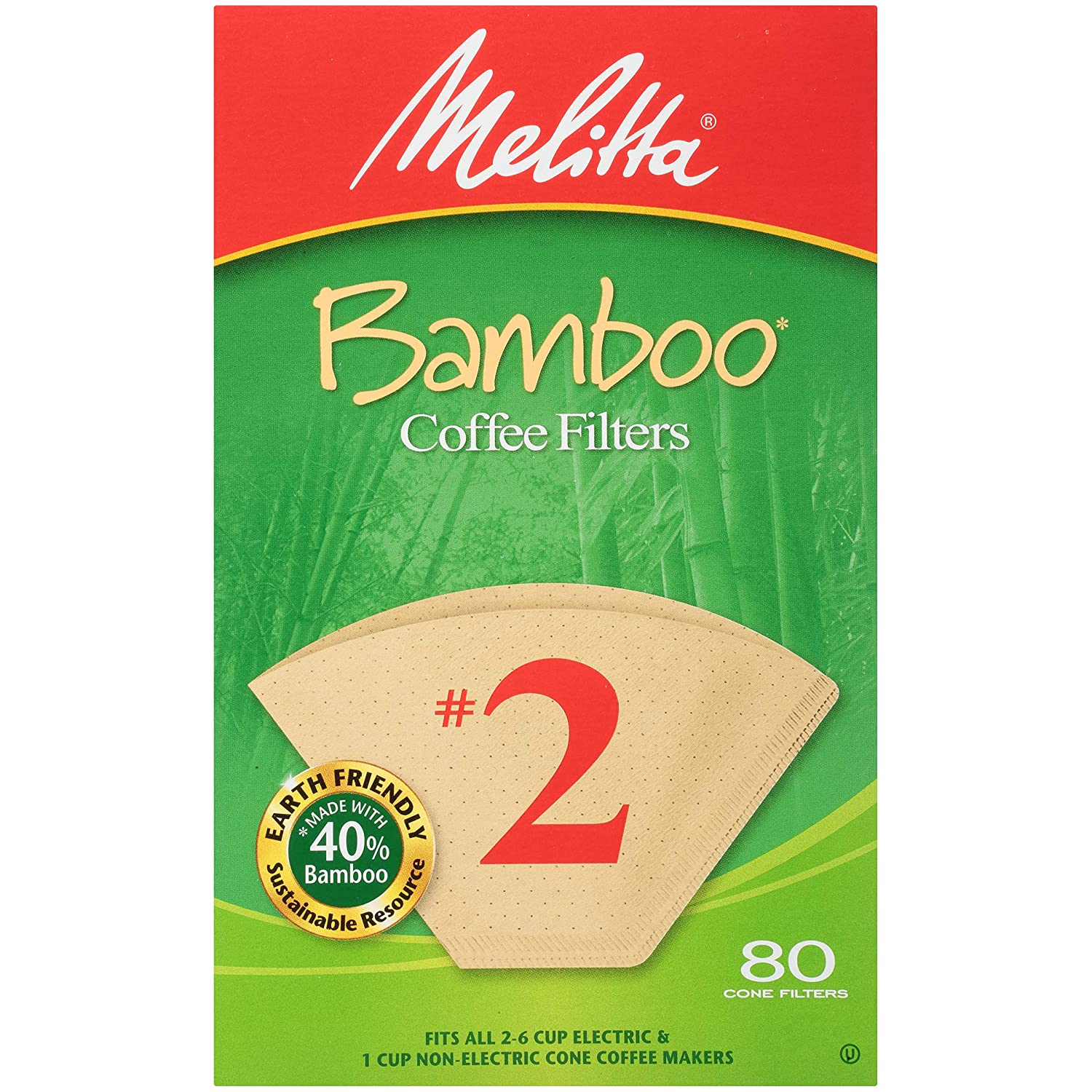 Melitta Bamboo Filters #2 (Pack of 6)