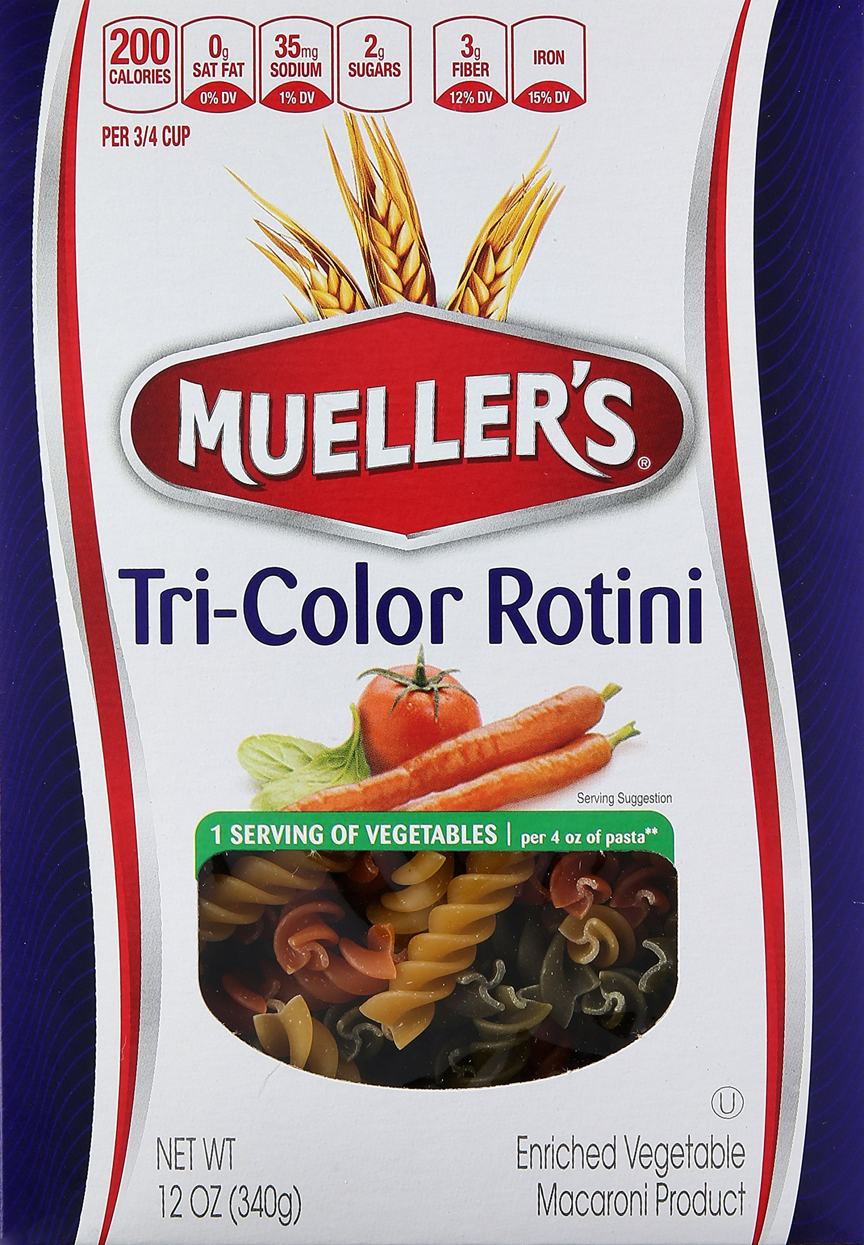Mueller's Tri-Color Rotini, 12 Ounce