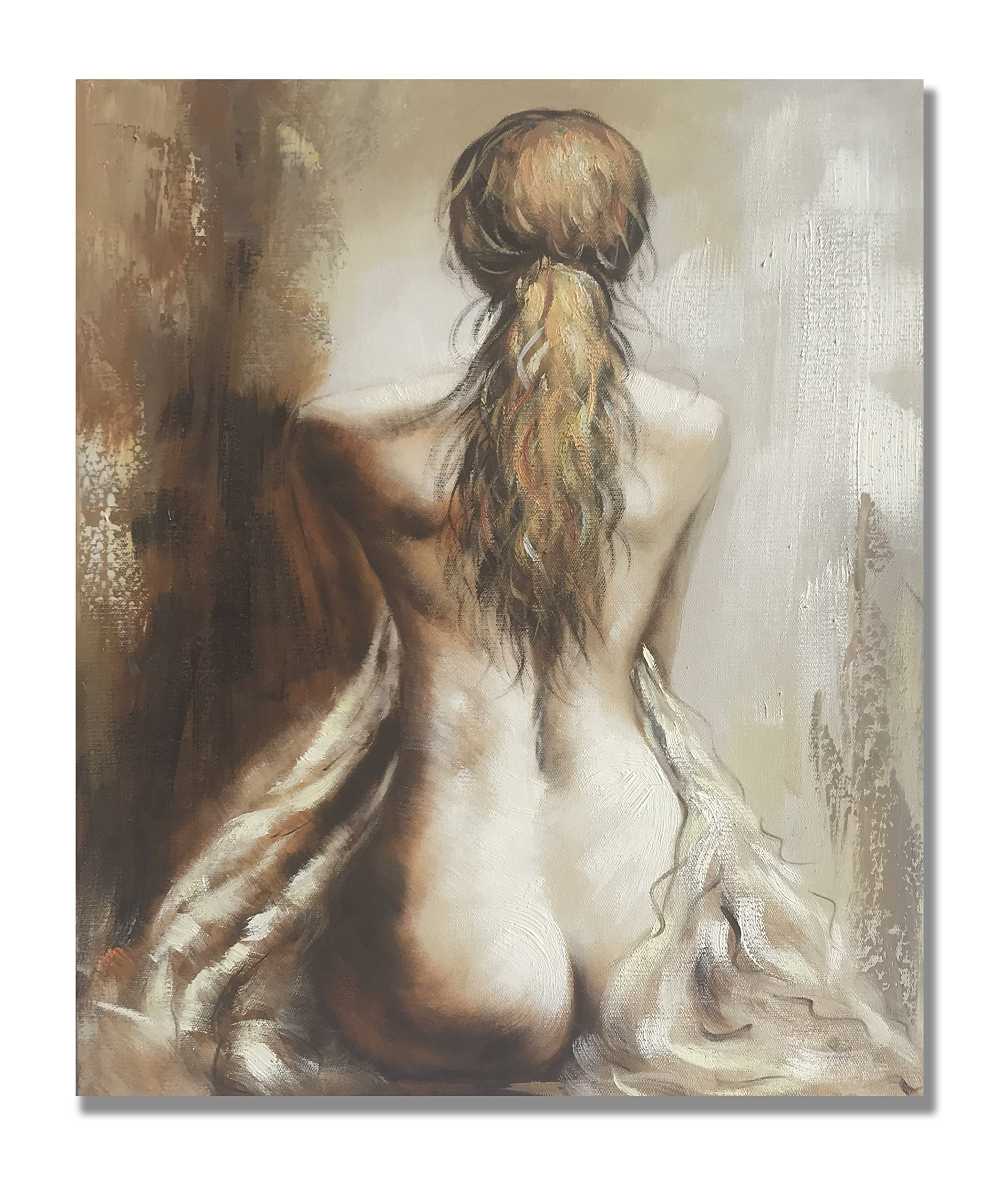 Modern Oil Paintings 100% Hand Painted Lady Back Figurative Canvas Wall Art Stretched and Framed Ready to Hang Home Decor 20'' x24''