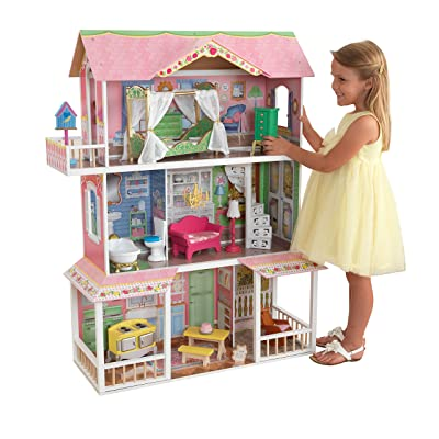 KidKraft Sweet Savannah Wooden Pretend Play Dollhouse with Furniture: Toys & Games