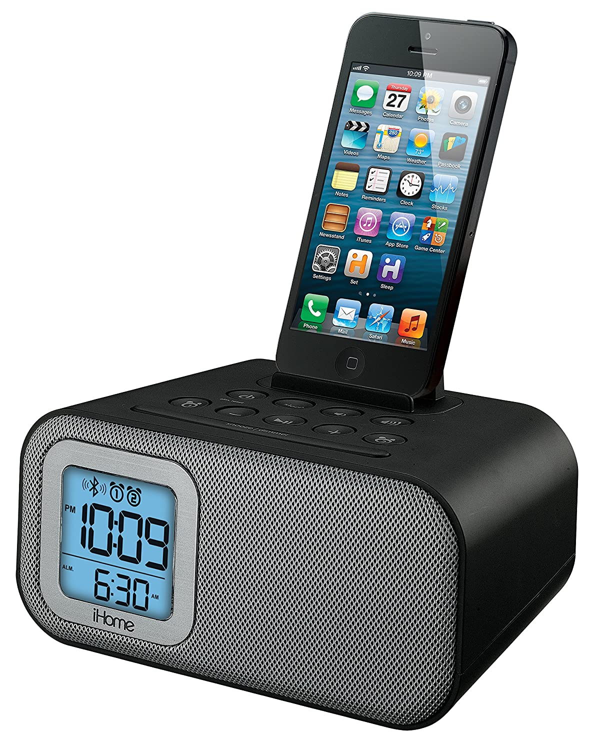 Amazon.com: iHome IBT22BC Bluetooth Bedside Dual Alarm Clock with USB  Charging and Line-In (Black): Home Audio & Theater
