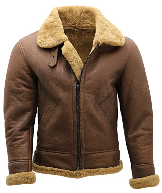 good quality multiple colors various colors Infinity Men's Brown B3 Shearling Sheepskin WW 2 Bomber Leather Flying  Aviator Jacket