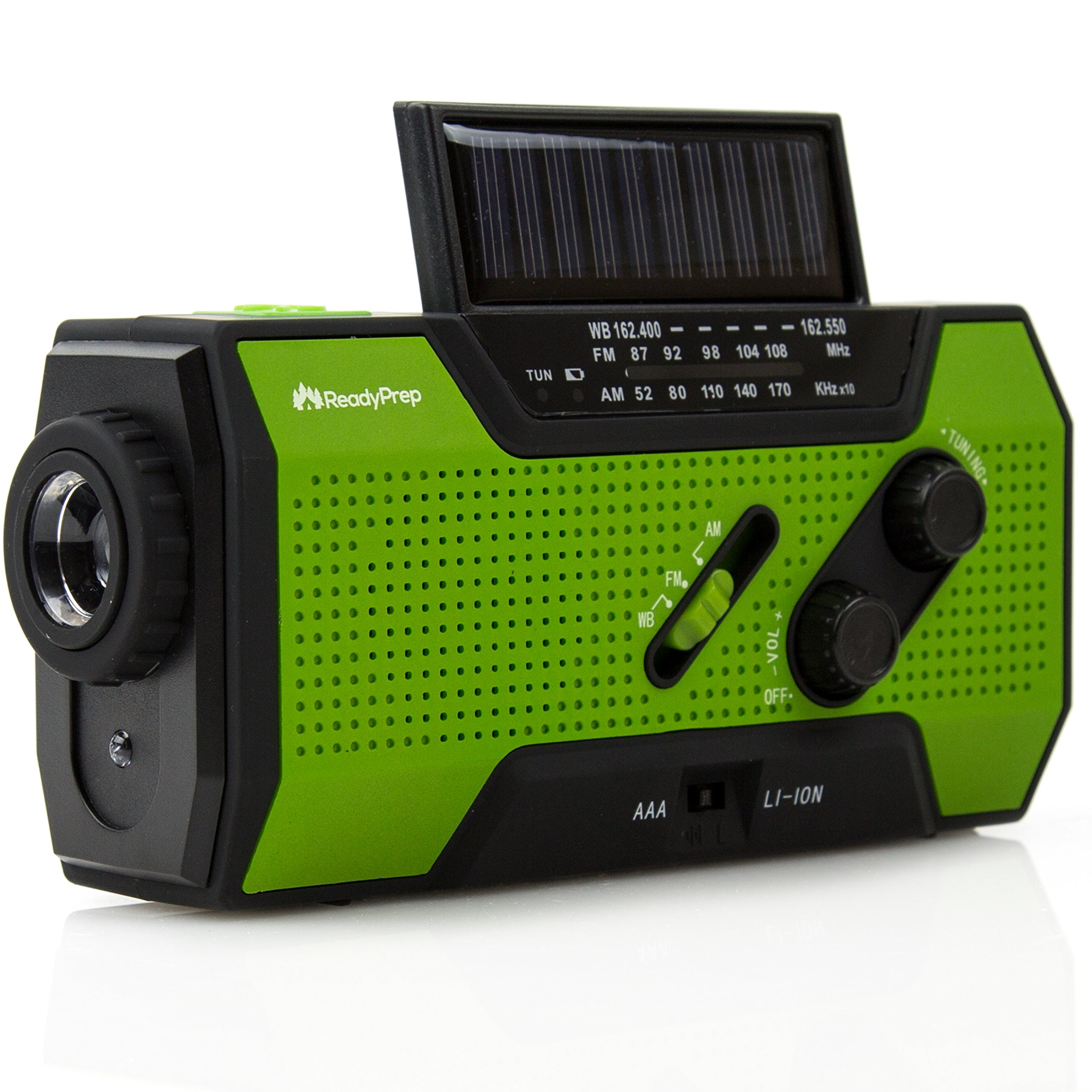 Emergency Weather Radio - AM FM NOAA Portable Radio with Solar and Crank Power for Household Emergency and Outdoor Survival