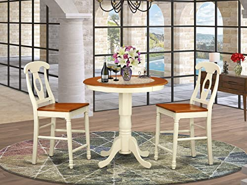 EDKE3-WHI-W 3 Pc counter height Dining room set – counter height Table and 2 Dining Chairs.