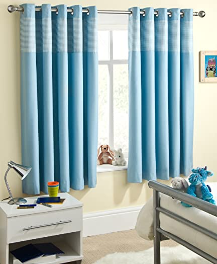 Powder Blue Gingham Baby Bedroom Curtains Blackout Thermal 46\