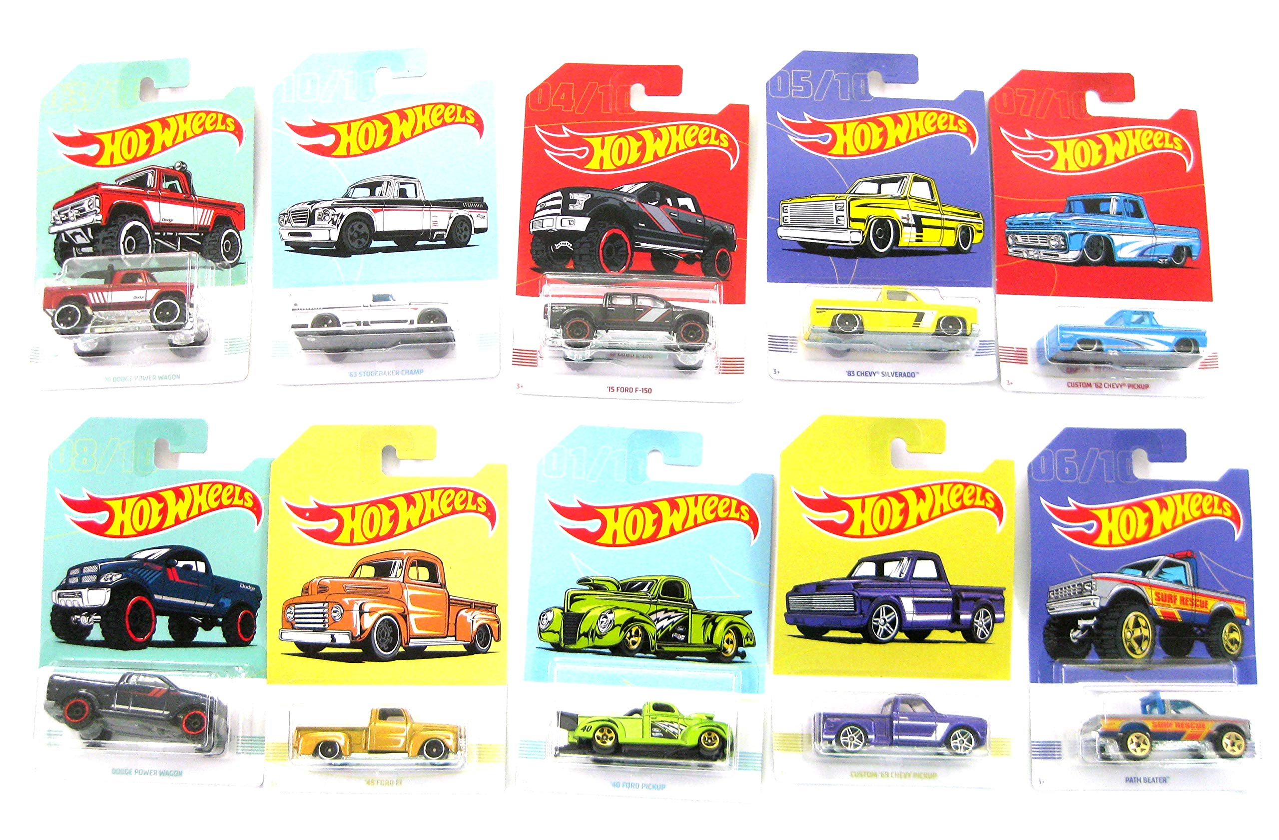 Hot Wheels GBC09-965A Premium Pick Ups set of 10 Cars New