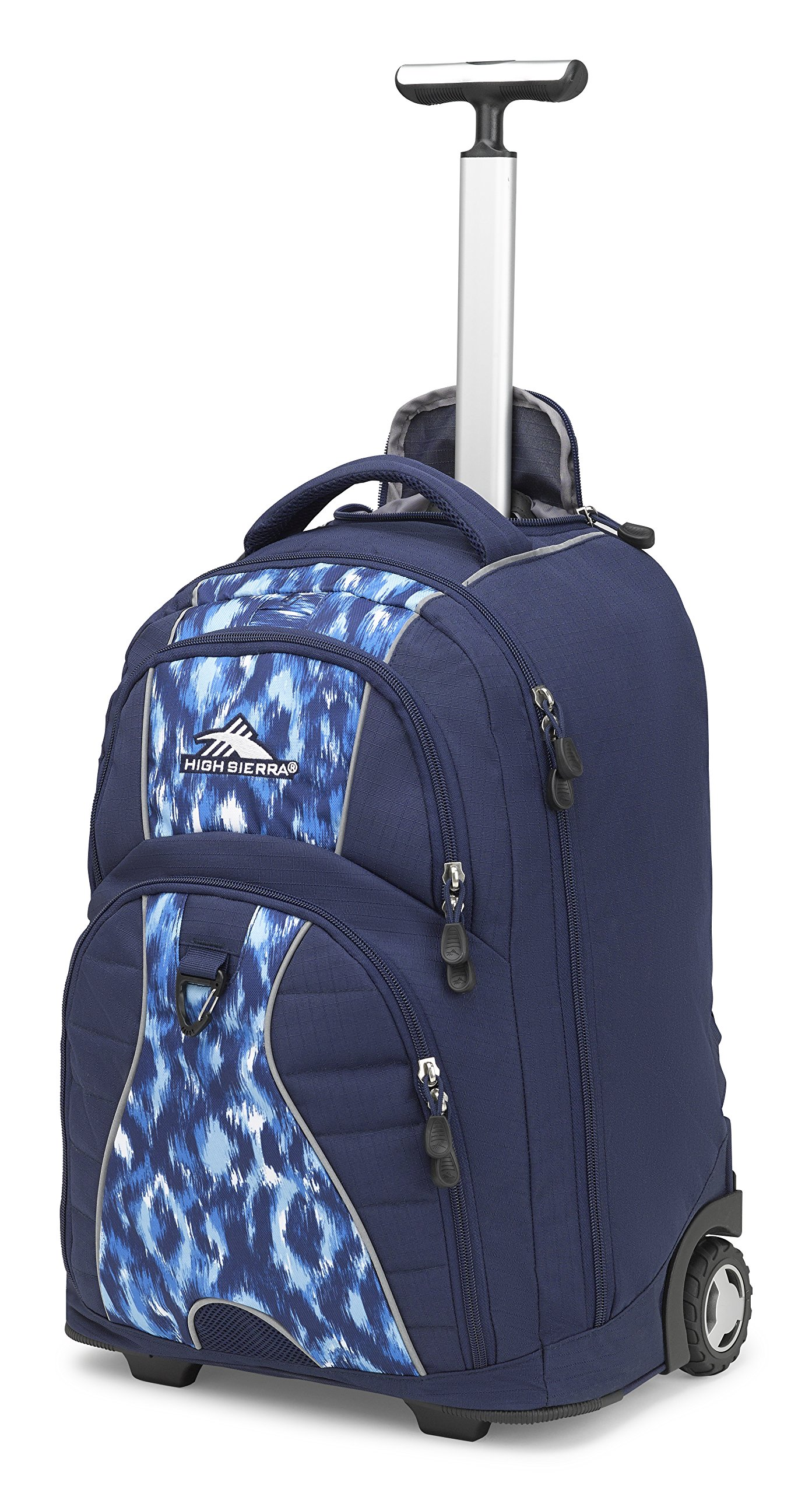 High Sierra Freewheel Wheeled Laptop Backpack, True Navy/Island Ikat