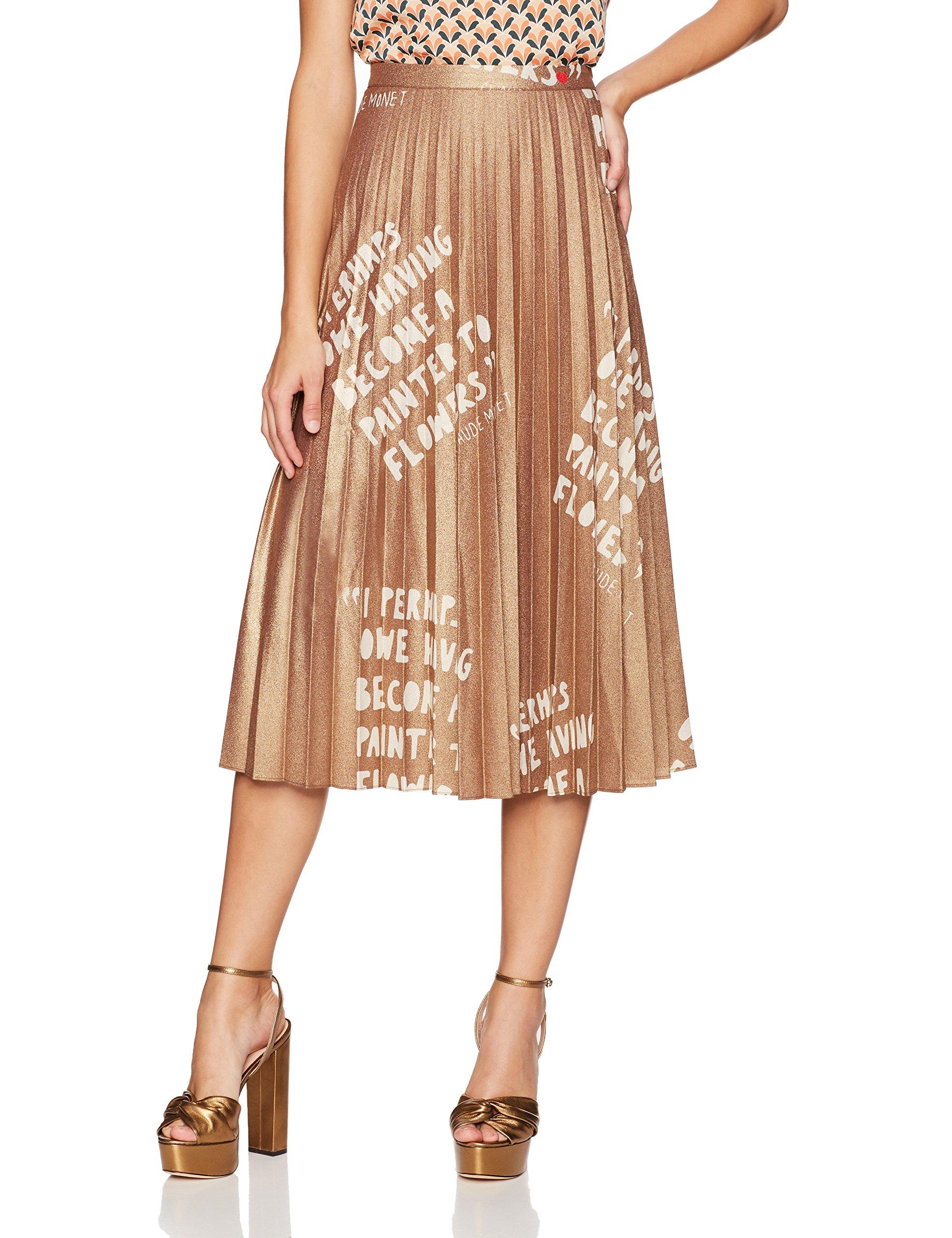 Dear Drew by Drew Barrymore Women's Lexington Ave Pleated Metallic Skirt, Ode to Flowers-Fudgesickle, 8